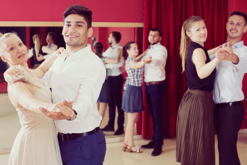 Amateur Dancers In A Ballroom Dance Class