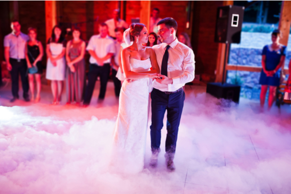 Couple dancing very close to each other their wedding dance