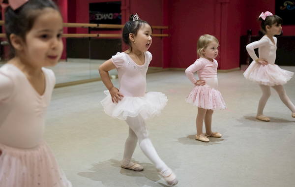 Four Litte Girls Doing Ballet