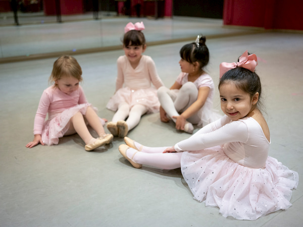 Little Ballerinas Doing Exercises